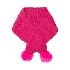 Baker by Ted Baker - Baker by Ted Baker Girls' pink knitted pom scarf