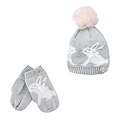 Baker by Ted Baker - Girls' grey bunny beanie and mittens set
