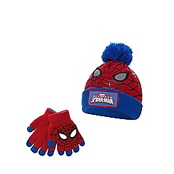Spider-man - Boys' red 'Spider-man' beanie hat and gloves set