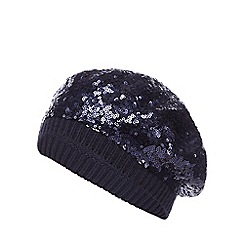 bluezoo - Girls' navy sequinned beanie hat