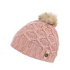 Mantaray - Girls' pink knitted pom pom beanie hat