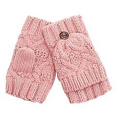 Mantaray - Girls' pale pink flip top mitts
