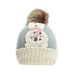 Mantaray - Girls' light blue bear knitted beanie hat