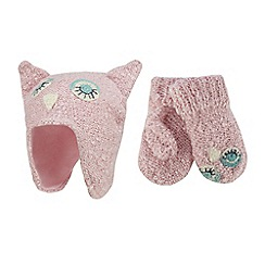 Mantaray - Girls' pink knitted owl hat and mittens set