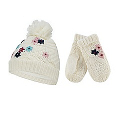 Mantaray - Girls' cream knitted flower hat and mittens set