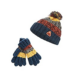 Mantaray - Boys' multicoloured striped beanie hat and gloves set