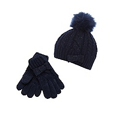 J by Jasper Conran - Girls' navy cable knit bow beanie and gloves set
