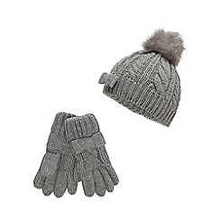 J by Jasper Conran - J by Jasper Conran Girls' grey cable knit beanie with gloves