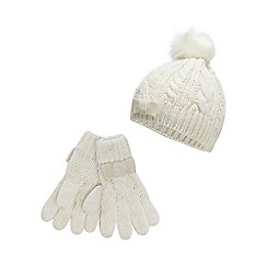 J by Jasper Conran - J by Jasper Conran Girls' cream cable knit beanie with gloves