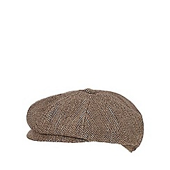 J by Jasper Conran - Brown herringbone baker boy cap