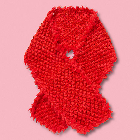 RJR.John Rocha - Designer girl+s dark orange textured knit scarf