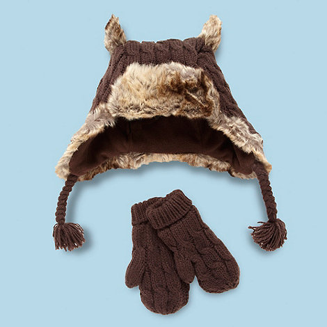 RJR.John Rocha - Designer boy+s brown cable knitted trapper hat and mittens set