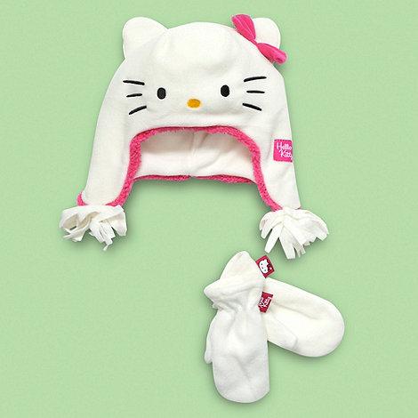Hello Kitty - Girl+s white +Hello Kitty+ fleece hat and gloves