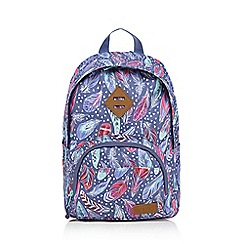 Animal - Girls' purple feather print backpack