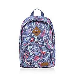 Animal - Girls' purple feather print backpack