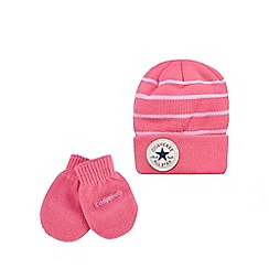 Converse - Girls' pink hat and mittens set
