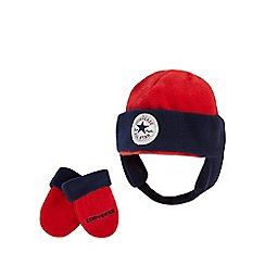 Converse - Boys' red hat and mittens set