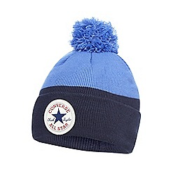 Converse - Boys' blue logo applique bobble hat