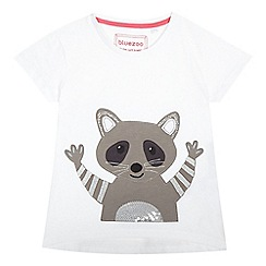 bluezoo - Girls' white racoon applique top