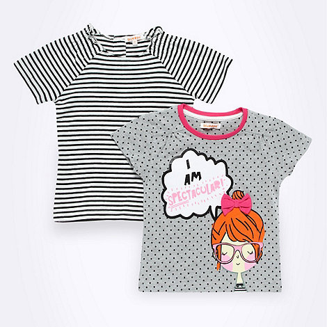 bluezoo - Pack of two girl+s grey and white t-shirts