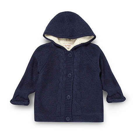 bluezoo - Girl+s navy knitted fleece cardigan