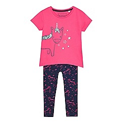 bluezoo - Girls' pink unicorn print top and leggings set