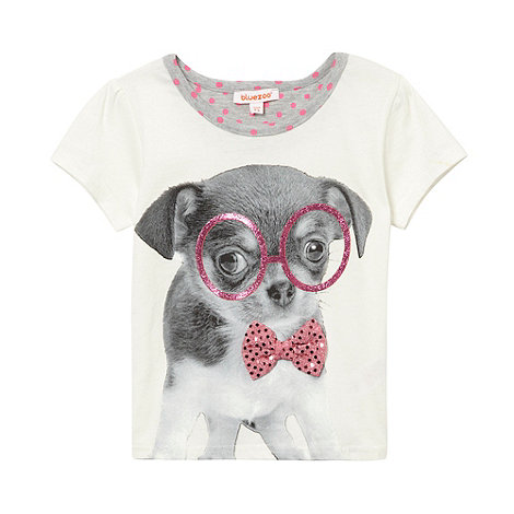 bluezoo - Girl+s white dog graphic tee
