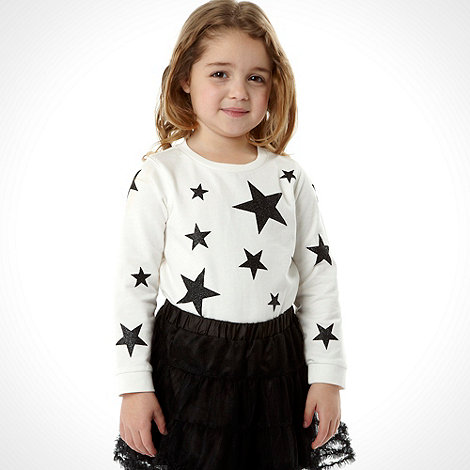 bluezoo - Girl+s black star top, skirt and leggings set