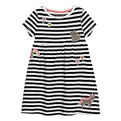 bluezoo - Girls' navy striped applique dress