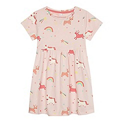 bluezoo - Girls' light pink unicorn print dress