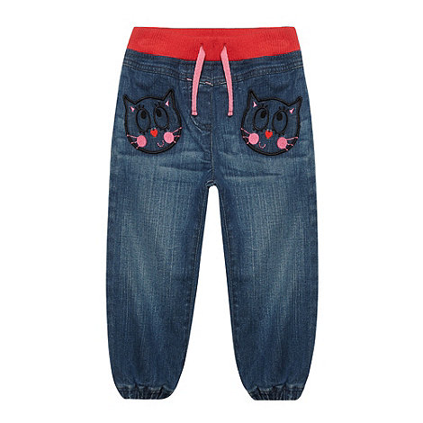 bluezoo - Girl+s blue cat ribbed waist  jeans