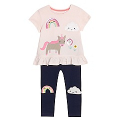 bluezoo - Girls' pink and navy badge top and leggings set