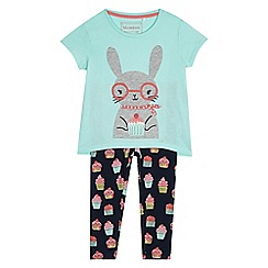 bluezoo - Girls' aqua bunny applique top and bottoms set