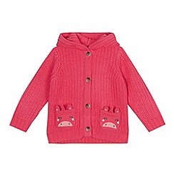 bluezoo - Girls' pink unicorn applique cardigan