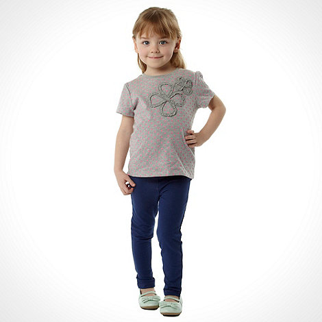 bluezoo - Girl+s grey 3d flower top and leggings set