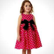 Girl's red bold spotted dress