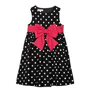 Girl's black spotted bow party dress