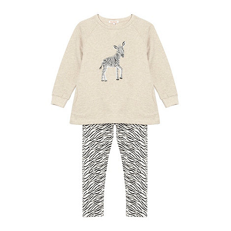 bluezoo - Girl+s light grey zebra print sweat top and leggings