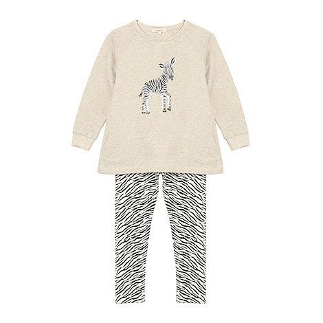 bluezoo - Girl+s light grey zebra print sweat top and leggings