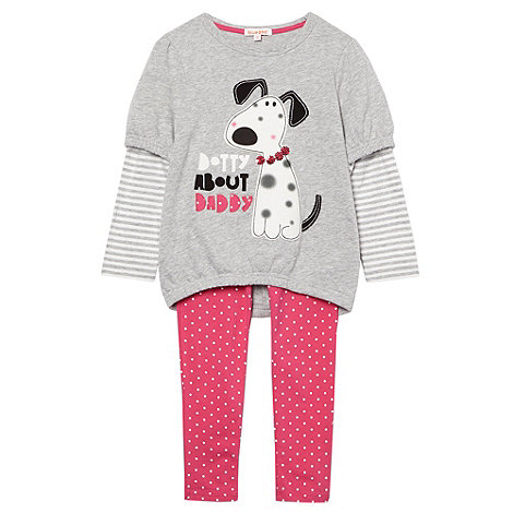 bluezoo - Girl+s grey dog jumper and leggings