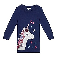 bluezoo - Girls' navy sequinned unicorn tunic jumper