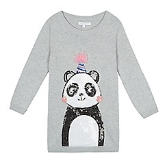 bluezoo - Girls' grey sequinned panda tunic