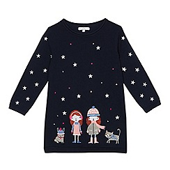 bluezoo - Girls' navy embroidered winter scene tunic dress