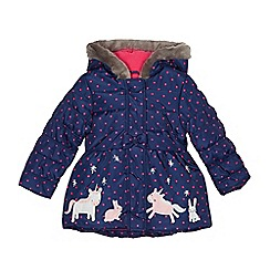 bluezoo - Girls' navy embroidered unicorn winter scene shower resistant coat