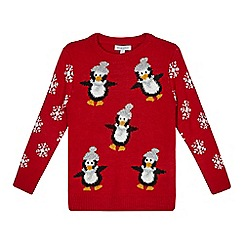 bluezoo - Boys' red penguin embroidered Christmas jumper
