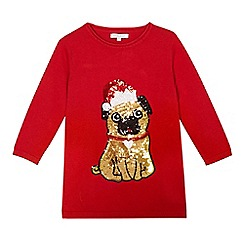 bluezoo - Girls' red sequinned pug dress