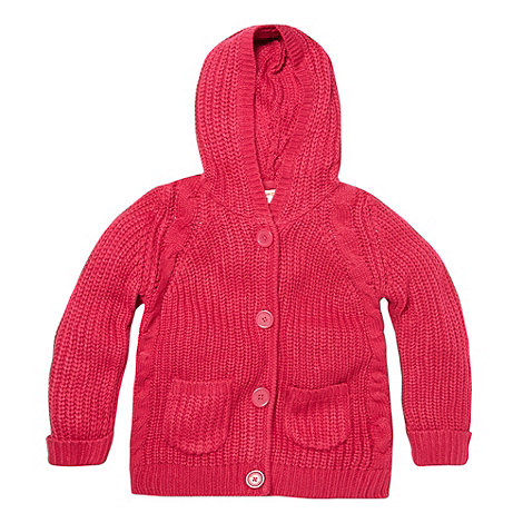 bluezoo - Girl+s pink chunky knit cardigan