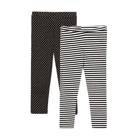 bluezoo - Girl's pack of two spotted and striped leggings
