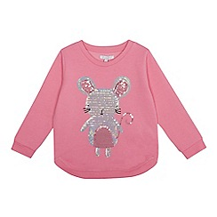 bluezoo - Girls' pink sequin mouse sweatshirt