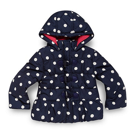 bluezoo - Girl+s navy spotted duffle coat